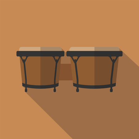 Bongos musical instrument, flat icon. Vector illustration. 일러스트