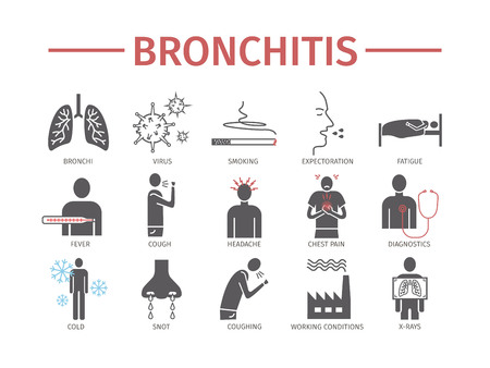 chronic bronchitis: Joint pain. Icons set. Vector signs for web graphics. Illustration