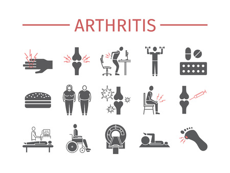 Arthritis. Symptoms, Treatment. Icons set. Vector signs Illustration