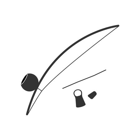 Berimbau, percussie instrument, plat ontwerp Stock Illustratie