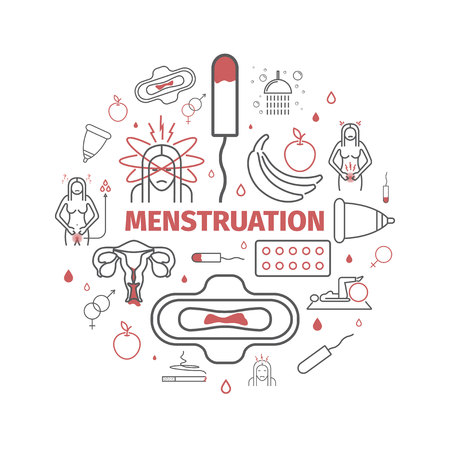 Menstruation. Line icons set. Vector signs for web graphics. Vectores