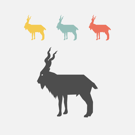 Markhor flat icon. Vectores