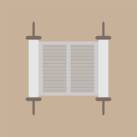 jewish: Torah scroll icon. Vector illustration.