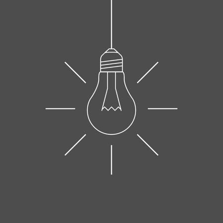 Simple hanging light bulb outline Illustration