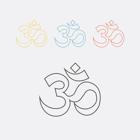 sanskrit: om sign and symbol, vector illustartion Illustration