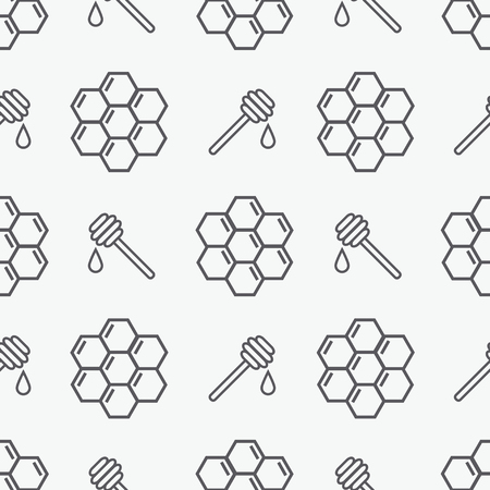 Honey seamless pattern Ilustração