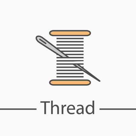 Needle and thread symbol. Line icon Иллюстрация