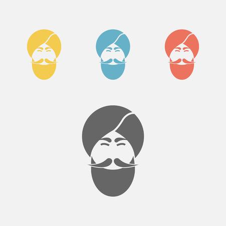 Indian Men icon, portrait.