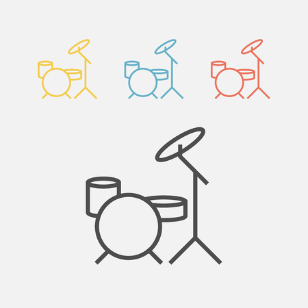 drum kit icon Vector sign for web graphics. Illustration