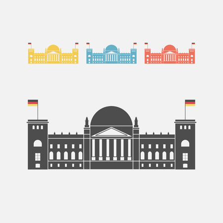 congress center: Facade view of the Reichstag Bundestag building in Berlin, Germany Illustration