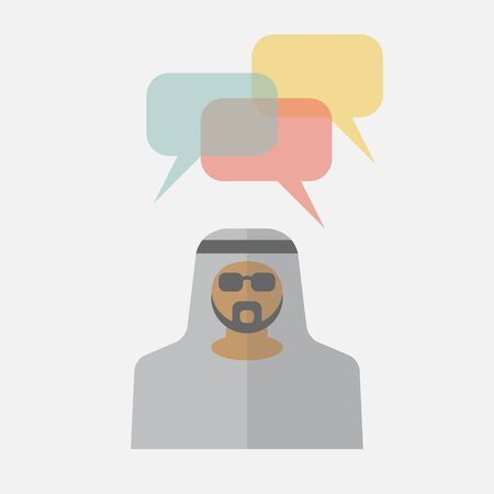 thobe: Arab man with colorful dialog speech bubbles