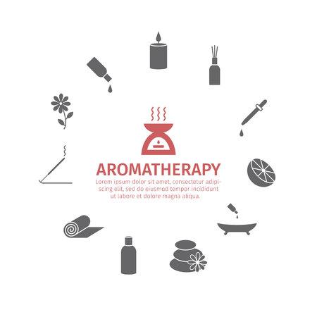 Icono del aceite esencial. Set de aceites de aromaterapia. Vector