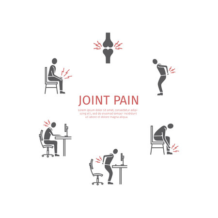 Joint pain. Flat icons set. Vector