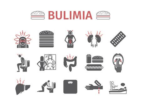 Bulimia. Symptoms, Treatment. Icons set. Vector signs.