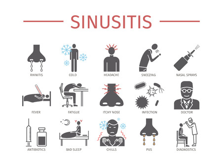 Sinusitis. Symptoms, Treatment. Icons set. Illustration