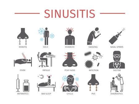 sinusitis: Sinusitis. Symptoms, Treatment. Icons set. Illustration