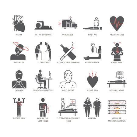 Myocardial infarction icon. Symptoms, Treatment.