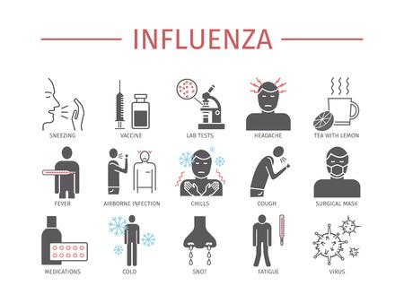 Influenza. Flu Symptoms, Treatment. Flat icons set. Vector signs