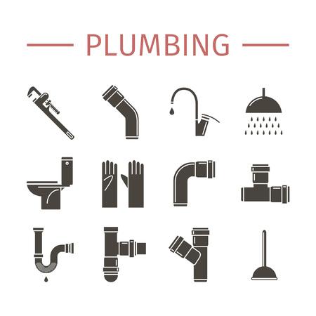 toilet: Plumbing, water pipes icon set. Illustration