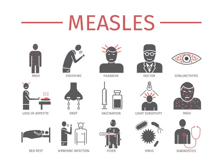 Measles. Symptoms, Treatment. Icons set. Vector signs Vectores