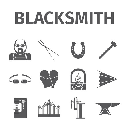 Blacksmith icons set. Vector illustration.