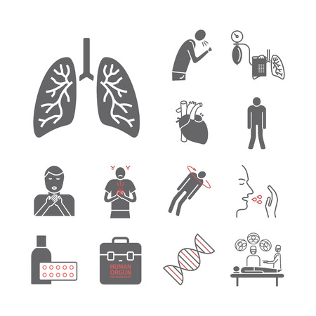 Pulmonaire hypertensie pictogrammen Vector illustratie.