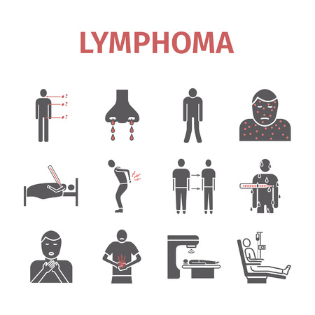 infected: Lymphoma signs. Lymphatic Cancer Symptoms. Icons set. Vector signs for web graphics.