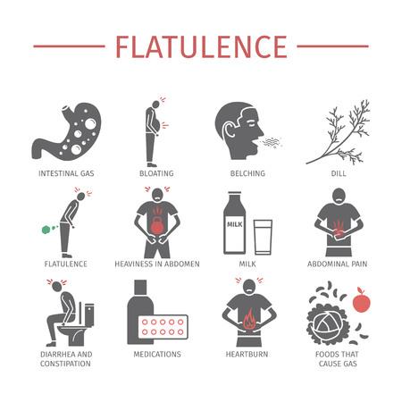 Flatulence. Symptoms, Treatment. Icons set Vector signs for web graphics Vektorové ilustrace