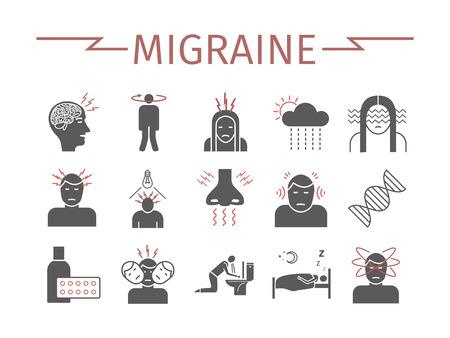 Migraines Infographics. Migraine symptoms. Headache icons Vector set  イラスト・ベクター素材