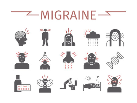 Migraines Infographics. Migraine symptoms. Headache icons Vector set Ilustrace