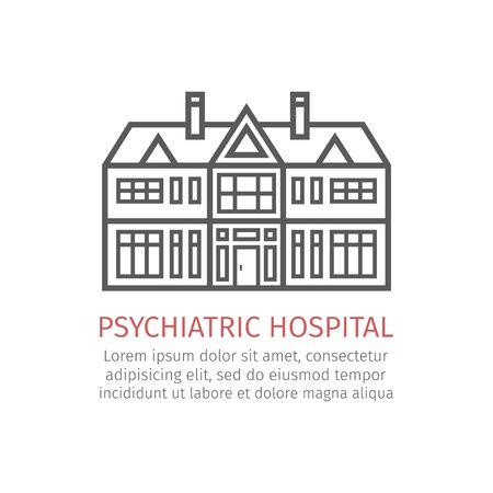 Psychiatrisch ziekenhuis. Vector icoon voor web grafisch.