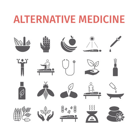Alternative Medicine icons set. Naturopathy sign. Vector