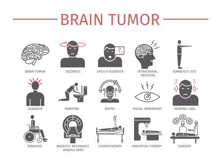 Síntomas del cáncer del tumor cerebral. Diagnóstico. Signos de cáncer de sangre. Iconos de línea establecidos. Vector signos de gráficos web.