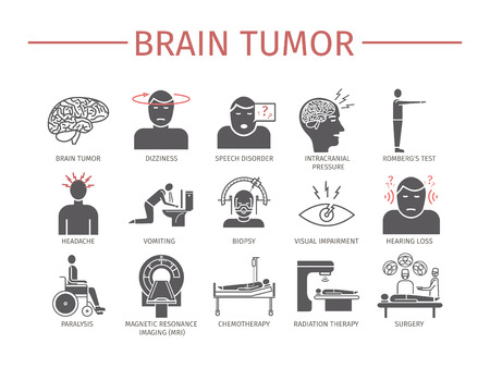 Brain Tumor Cancer Symptoms. Diagnostics. Blood cancer signs. Line icons set. Vector signs for web graphics. Vettoriali