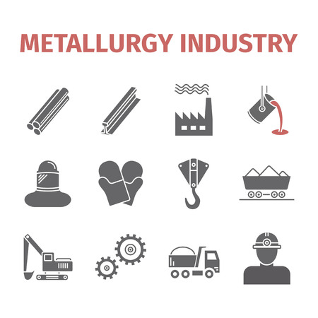 Metallurgy icons. Vector signs for web graphics