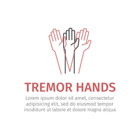 Tremor hands. Vector icon for web graphic.