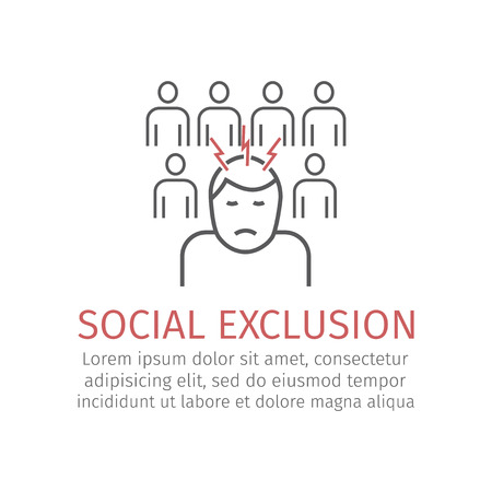 Social exclusion. Vector icon for web graphic. Illustration