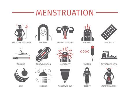 Menstruation. Icons set. Vector signs