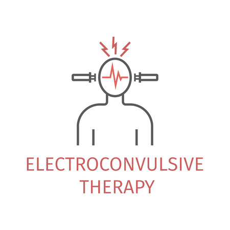 Electroconvulsive therapy. Vector icon