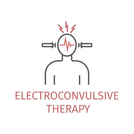 Terapia elektrowstrząsami. Ikona wektor