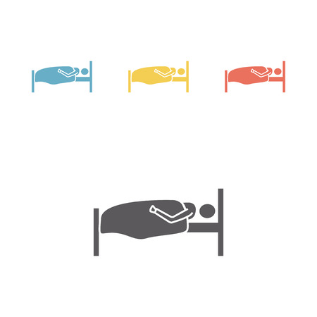 lying in bed: Sleeper symbol. Bed rest icon