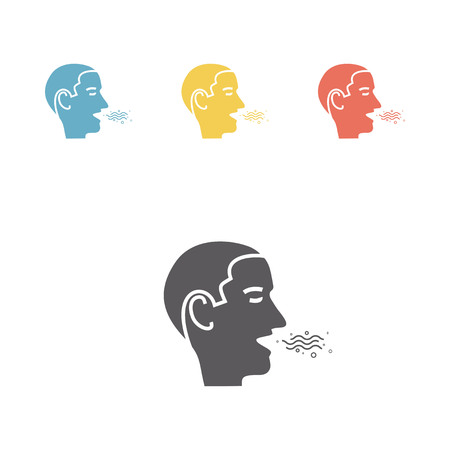 Halitosis. Line Icon. Vector illustration.