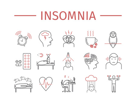 lying in bed: Insomnia, Symptoms. Line icons set. Vector signs for web graphics. Illustration