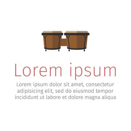round: Bongos musical instrument, flat icon