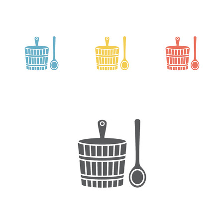 round: Wooden sauna bucket. Vector illustration.