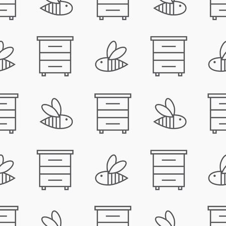 Beekeeping seamless pattern