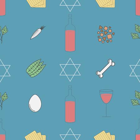 Passover seder plate seamless pattern Ilustrace