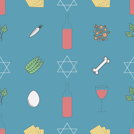 Passover seder plate seamless pattern Illustration