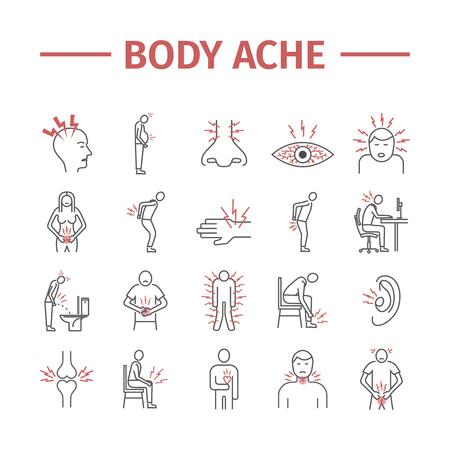 Pijn in het lichaam en blessure lijn pictogrammen instellen. Vector illustratie voor websites, tijdschriften, brochures. Geneeskunde tekenen Stock Illustratie