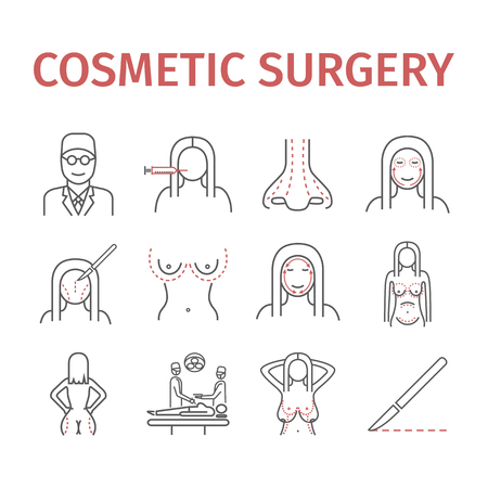 Cosmetic surgery line icons set. Vector illustration for websites, magazines, brochures. Medicine signs.